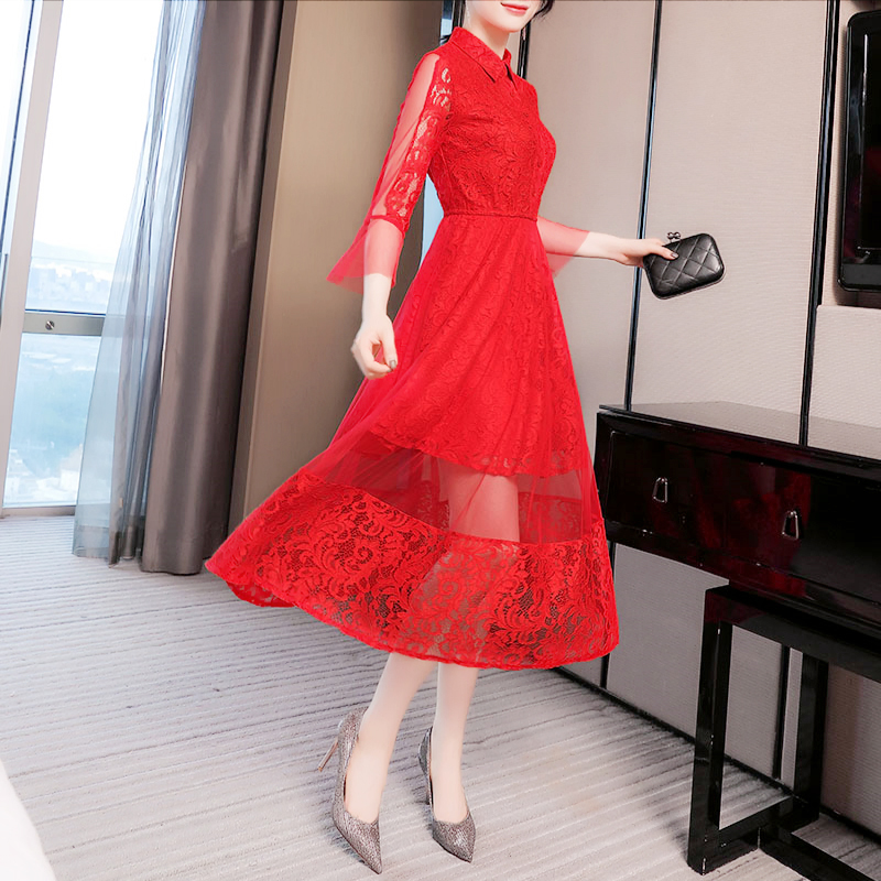 春秋2020年新款女装中长裙子法式收腰显瘦气质网纱蕾丝红色连衣裙
