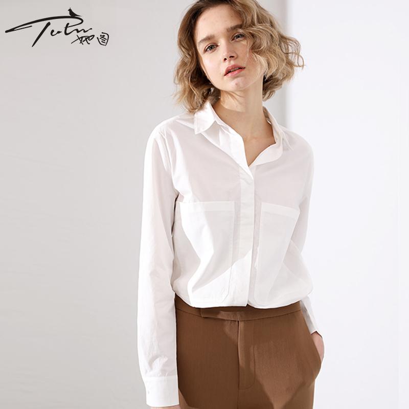 她图秋季职业白色衬衫女韩版宽松长袖2019春装新款衬衣百搭上衣女