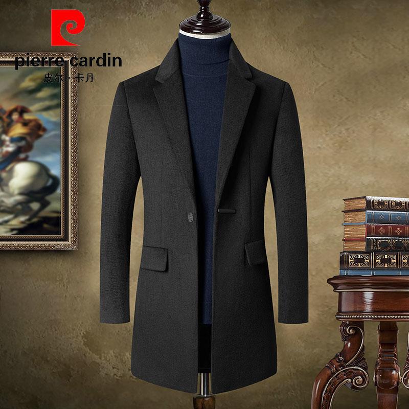 Pilkadan wool coat mens medium long casual British autumn and winter mens cashmere wool coat