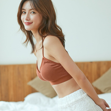 Yu Zhaolin's Put-on Underwear Girl Student's Beautiful Back Suspension Belt Bottom Small vest Sexy Gathering Wrap-up Chest Girl Bra