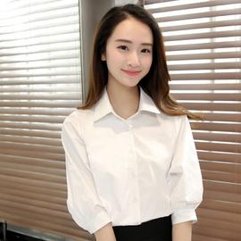 衬衫2020年春季新款短袖白色女士衬衣七分中袖设计感小众轻熟夏装