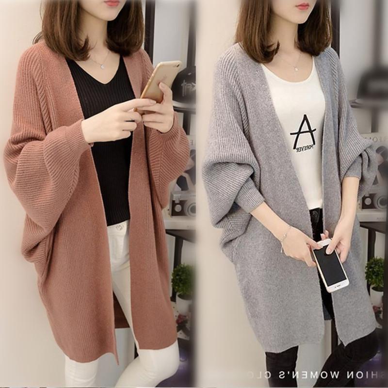 蝙蝠袖开衫毛衣外套女中长款2021秋冬新款韩版宽松网红针织衫加厚