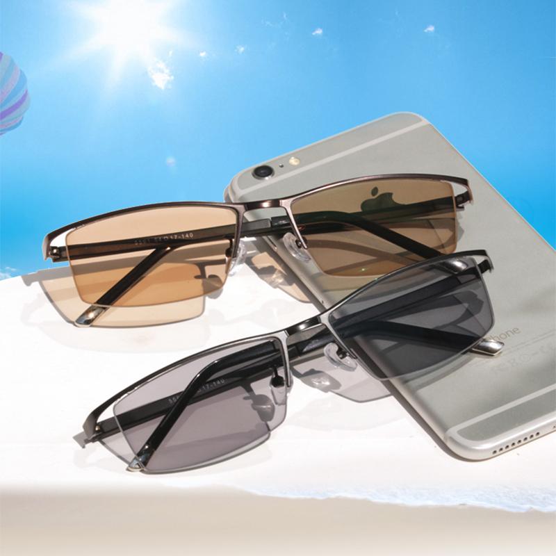 配半框變色近視眼鏡男司機駕駛防藍光輻射成品放護目鏡眉線大框架