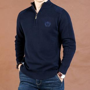 秋冬男士加厚立领半拉链宽松毛衣男吉普盾大码水洗纯棉高领针织衫