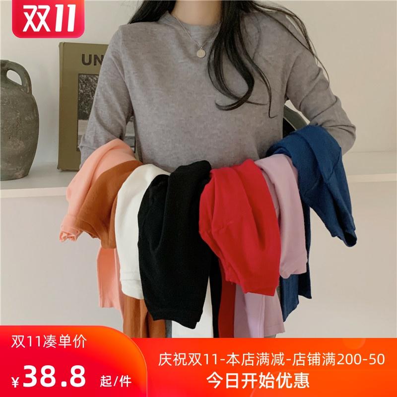 秋冬百搭ins超火时尚打底衫设计感显瘦短款上衣女基础内搭长袖t恤