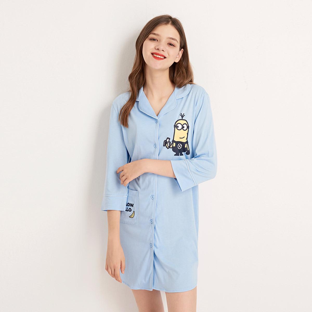 bodypops银泰专柜2019女款小黄人系列睡裙睡衣家居服BCYO967M11