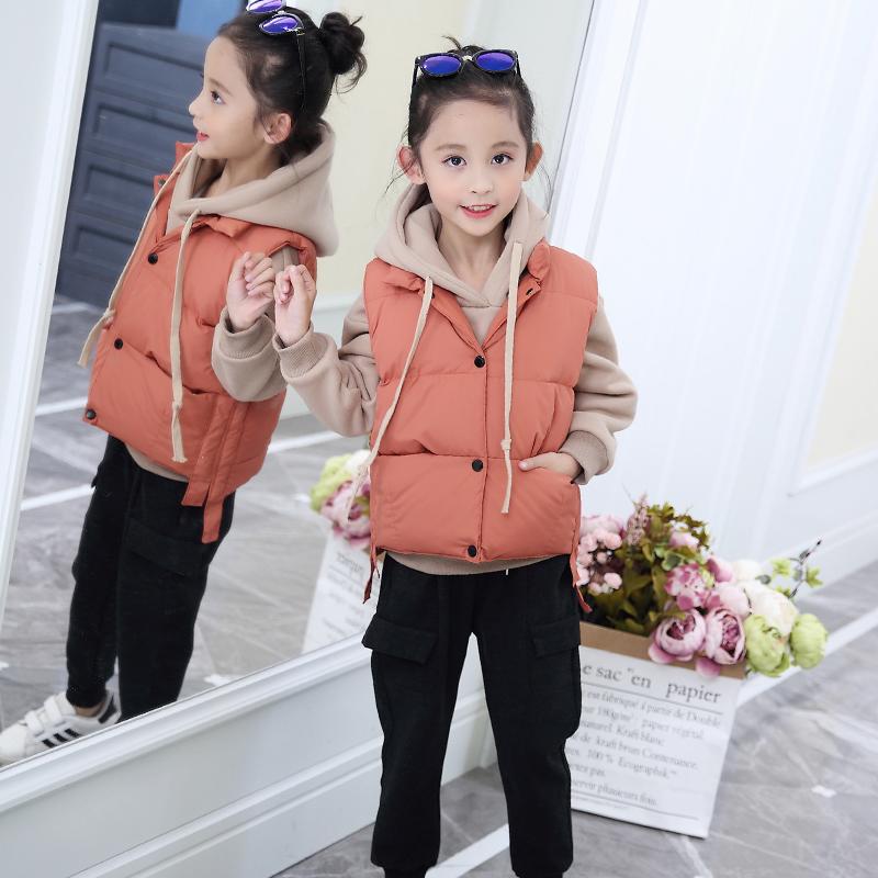 女童2018冬装新款加绒加厚女孩三件套韩版中大童时髦卫衣马甲套装