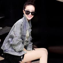 百搭韩版 新款 上衣夹克衫 长袖 时尚 印花牛仔外套女短款 2019春季