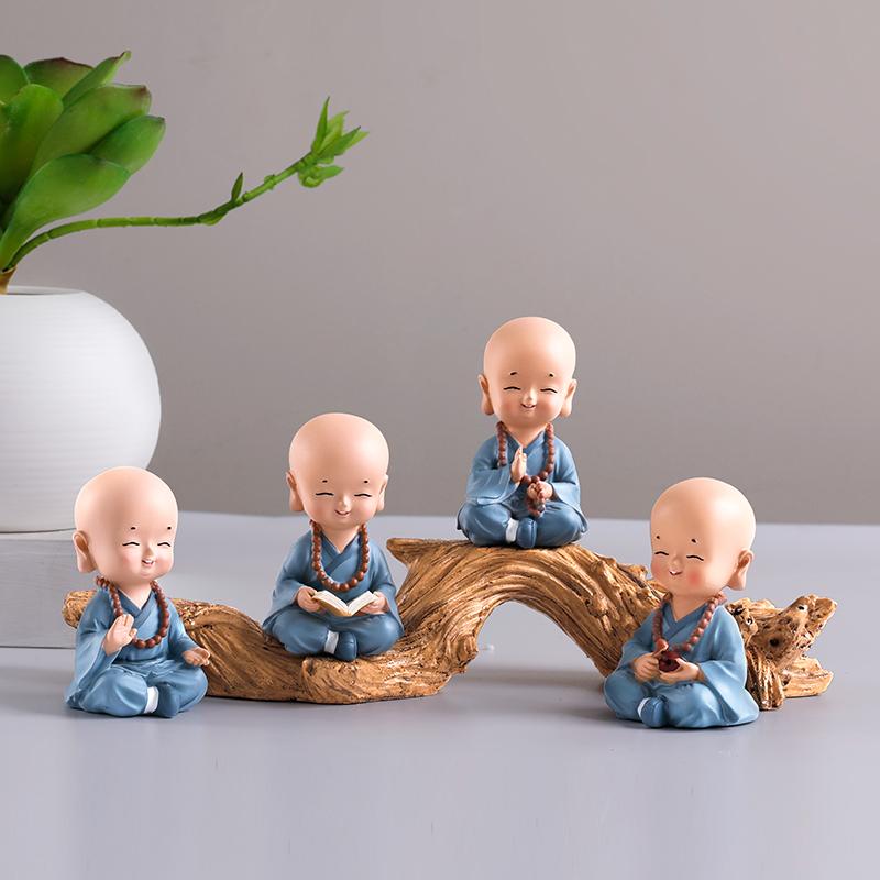 创意小和尚摆件办公室桌沙弥客厅电视柜酒柜装饰家居新中式工艺品