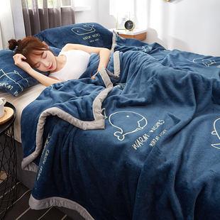 珊瑚毯子薄款春秋午睡毛巾小被子床单人办公室沙发法兰绒夏季毛毯