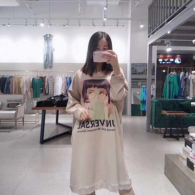 2019秋冬新款 长款眼镜女孩图案长袖圆领卫衣连衣裙