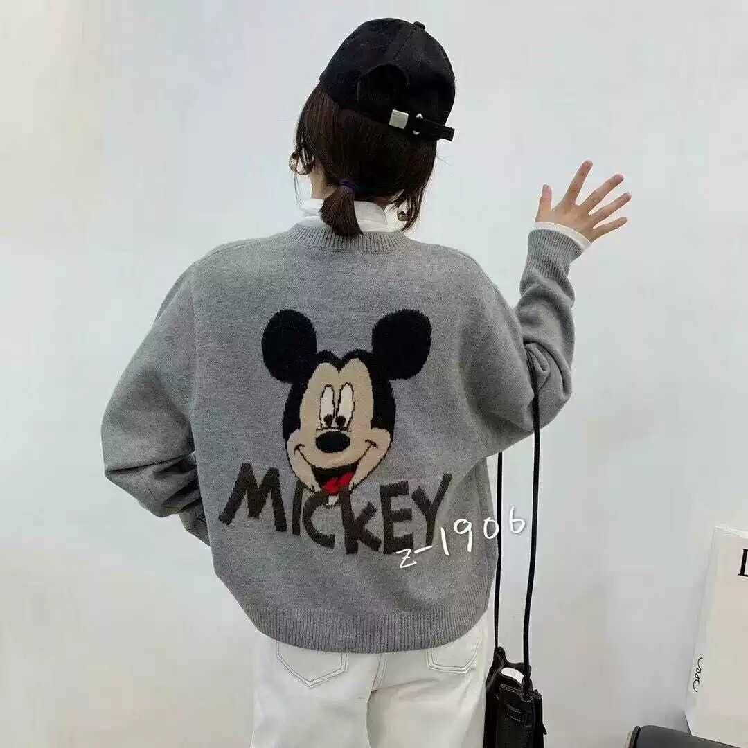 2021 spring dress new back big Mickey pattern letter knitting flower hook flower round neck sweater knitting cardigan coat