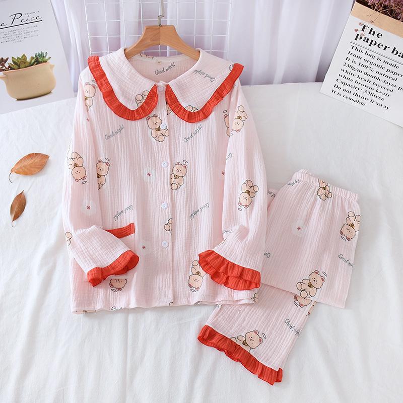 小熊娃娃领睡衣女长袖2021年新款可爱家居服春秋纯棉纱布开衫套装
