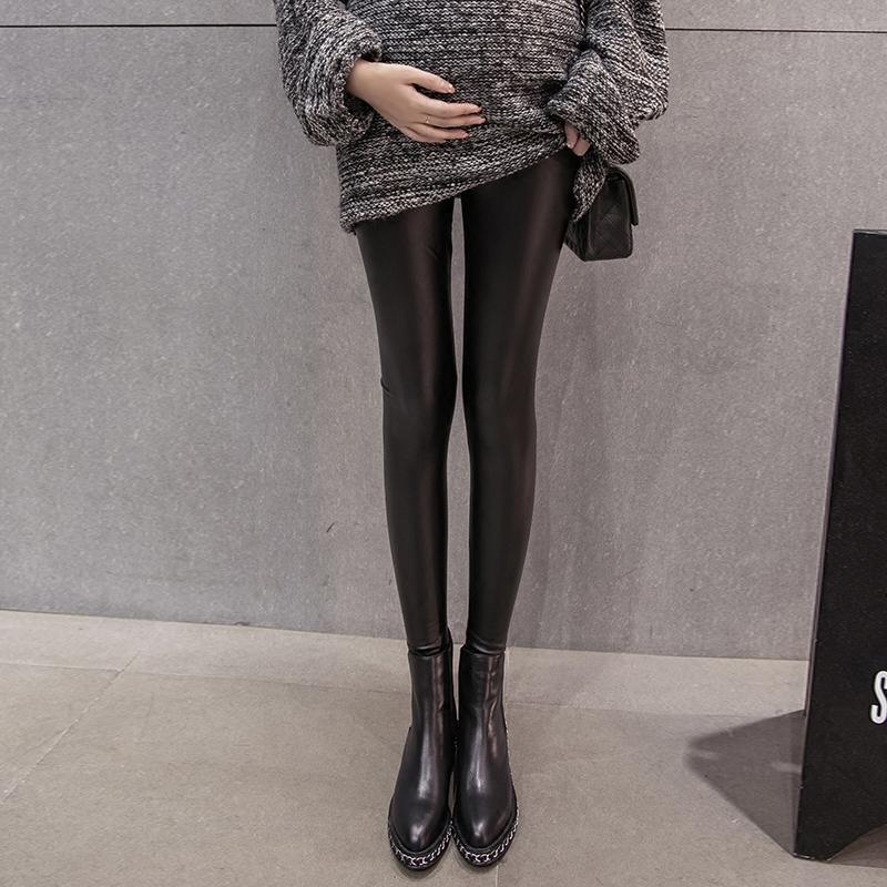 孕婦皮褲加絨加厚孕婦褲黃金絨孕婦托腹褲孕婦打底褲靴褲顯瘦冬裝