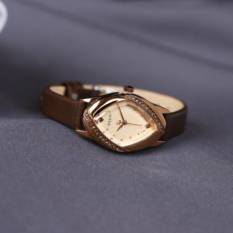 正品新款julius聚利时皮带手表韩国时尚水钻表复古女表防水石英表