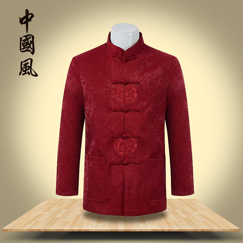 秋冬复古风老年红色刺绣唐装棉衣爸爸装中式男士宽松大码休闲外套
