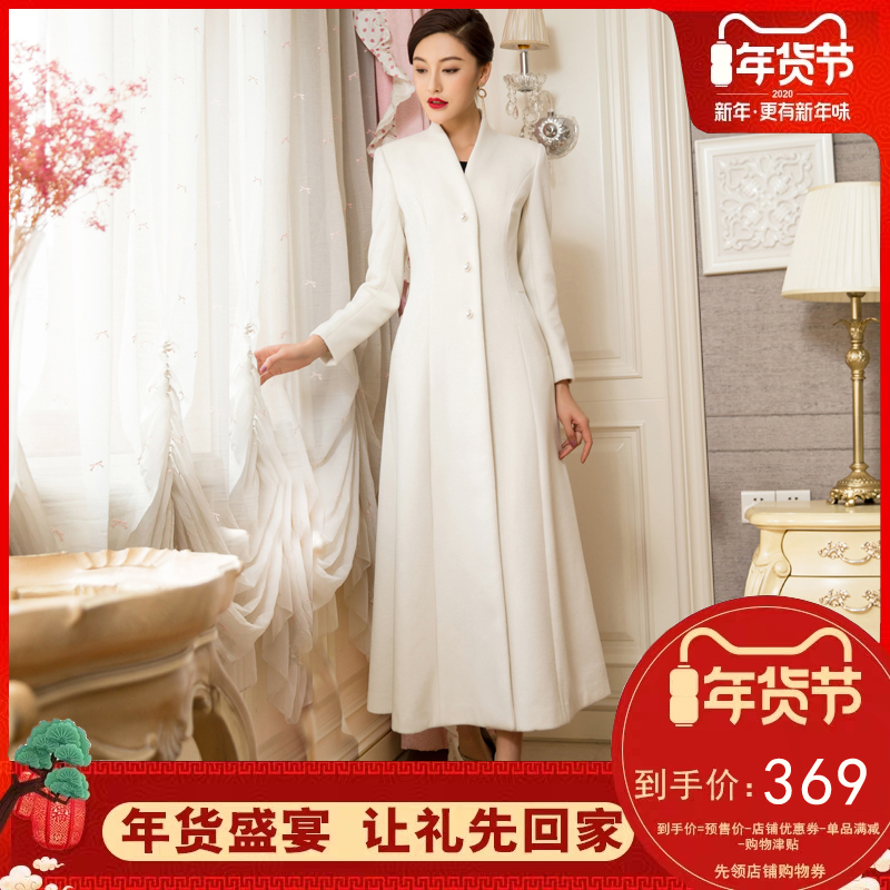 New white cashmere overcoat womens over knee slim waist thickened medium length lady fan Xianchao wool overcoat