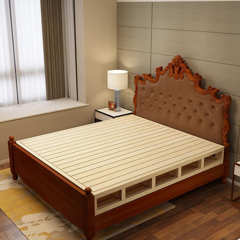 松木床架双人床1.5硬板床垫排骨架