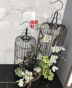 装饰鸟笼 鸟笼摆件 铁艺鸟笼 大号 鸟笼花艺 软装装饰鸟笼橱窗