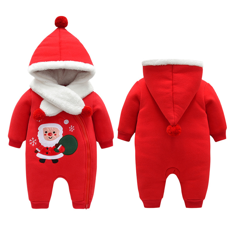 Babys clothes Christmas Sweater Hoodie three layer cotton cardigan Santa embroidered Jumpsuit baby going out