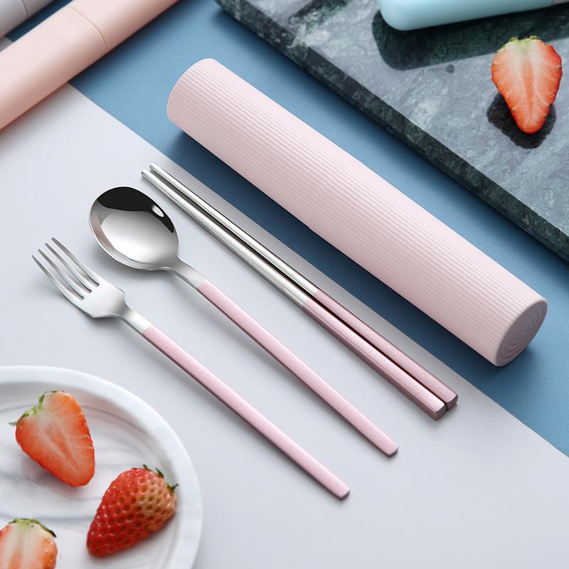 便携筷子勺子套装餐具三件套单人304不锈钢叉子韩国学生可爱筷盒