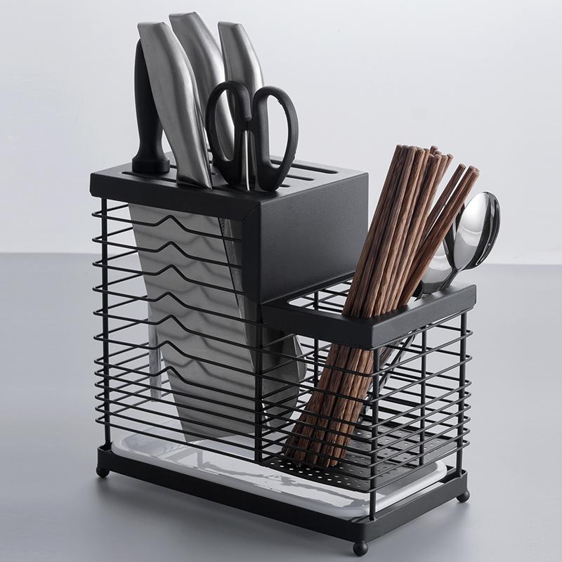 家用不锈钢刀架厨房菜刀筷子笼一体置物架插放刀具座壁挂式收纳架