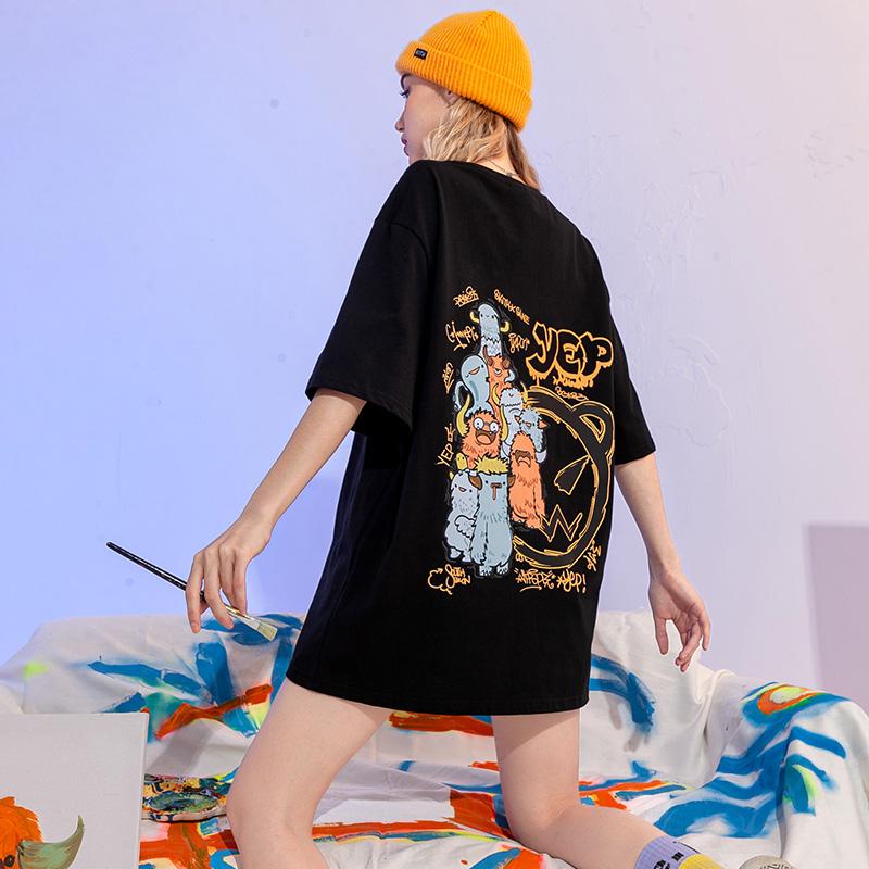 YEP黑色t恤女夏季宽松ins潮牌短袖2021年新款纯棉设计感女装上衣