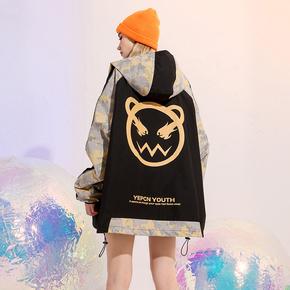 YEP拼接迷彩工装外套女春秋薄款2021年新款ins国潮宽松bf风冲锋衣