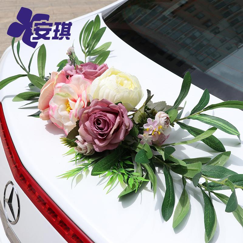 结婚车弯月车尾装饰婚礼主车队创意多色系仿真玫瑰椅背花装饰欧式
