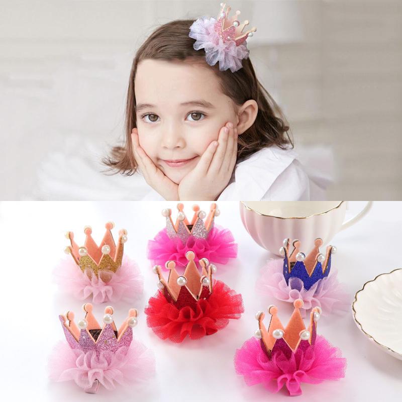 茜茜同款儿童发夹公主皇冠王冠蕾丝超仙珍珠韩国宝宝女童发饰头饰