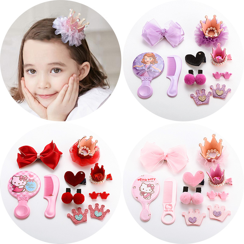 Children's hair accessories hairpin headdress Crown Princess birthday gift sets baby girls headdress hairpin head flower jewelry