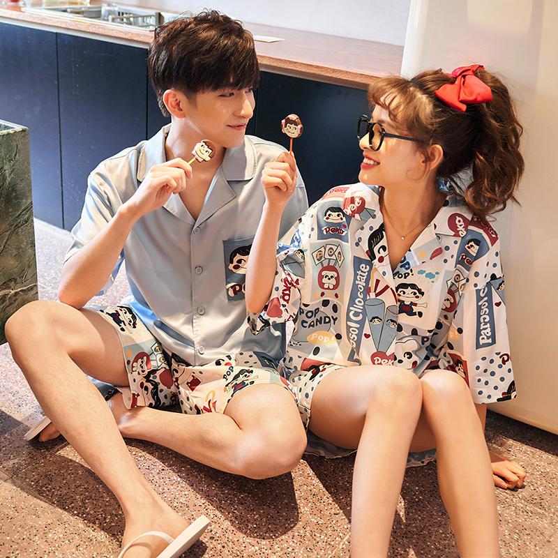情侣睡衣女夏季冰丝薄款短袖可爱网红夏天男士家居服丝绸两件套装