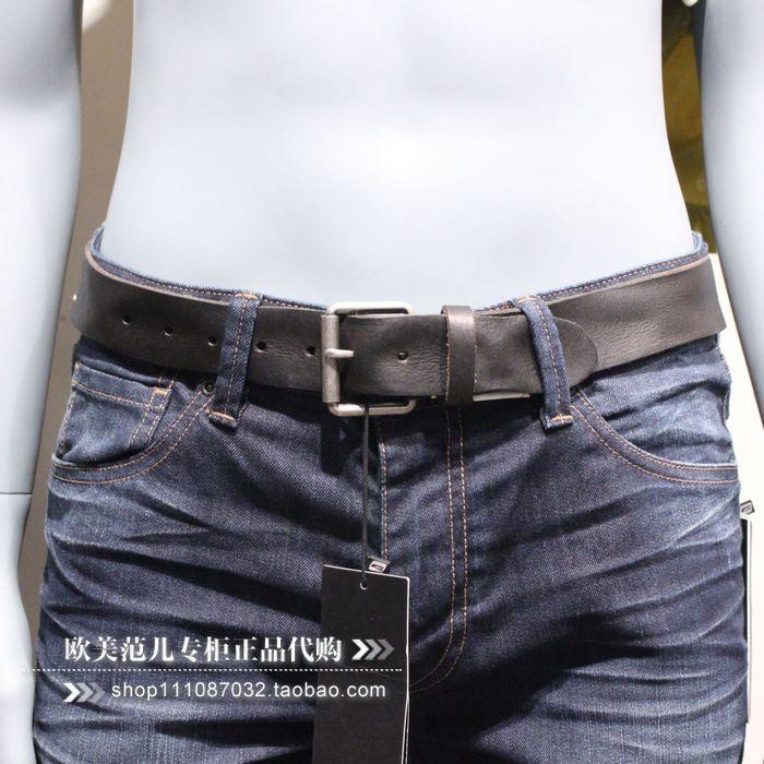 欧美范儿专柜正品杰克琼斯男士黑色牛皮腰带真皮皮带