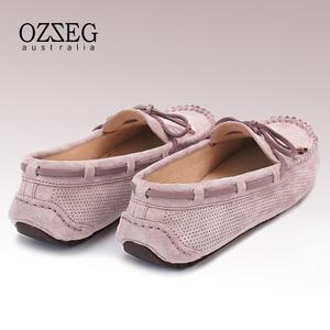 ozzeg 2021春夏新款真皮镂空豆豆鞋
