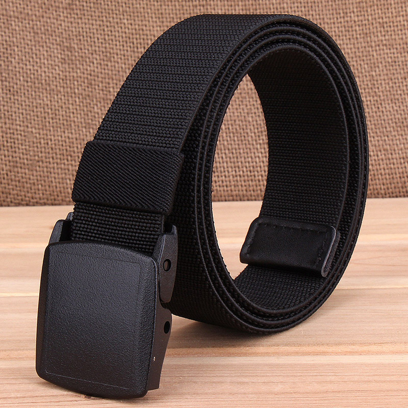 Elastic nylon braided waistband YKK automatic plastic button mens and womens thickened canvas belt