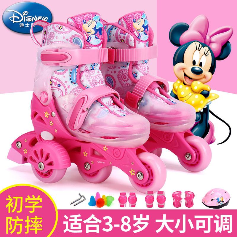 迪士尼溜冰鞋儿童初学者轮滑鞋女孩3岁幼儿宝宝套装旱冰鞋男小童4