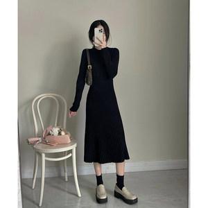 切糕自制气质名媛中长款连衣裙2021春秋新款打底外穿高腰百褶裙子