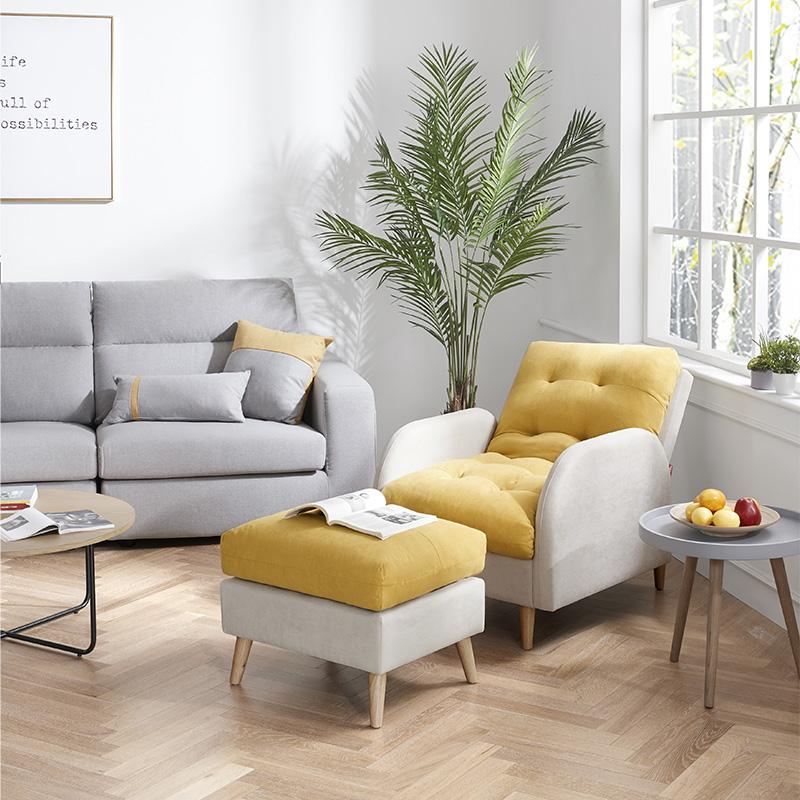 [惠尚系列]顾家家居单人北欧布艺懒人功能沙发小户型客厅网红款XJ