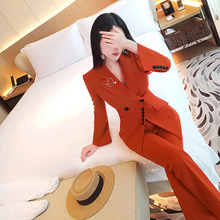 Vje autumn suit women's 2019 new style with irregular temperament two piece set of professional small suit pants