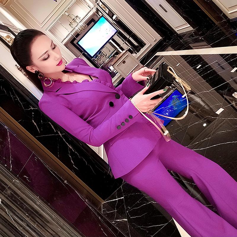 VJE秋季OL通勤女装职业套装2019新款气质小西装外套长裤两件套
