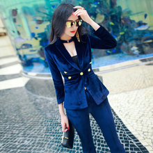 Autumn and winter new professional women's pants suit, celebrity temperament, luxury velvet blazer, micro speaker pants