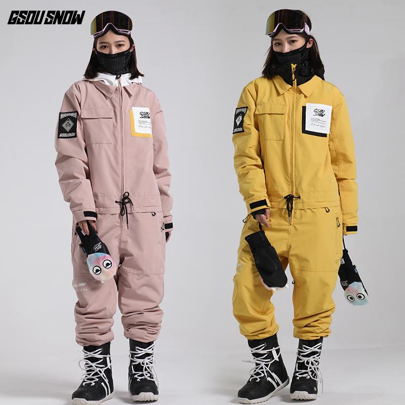 GsouSnow新品雪服套装女单板双板加厚保暖冬季宽松男款连体滑雪服