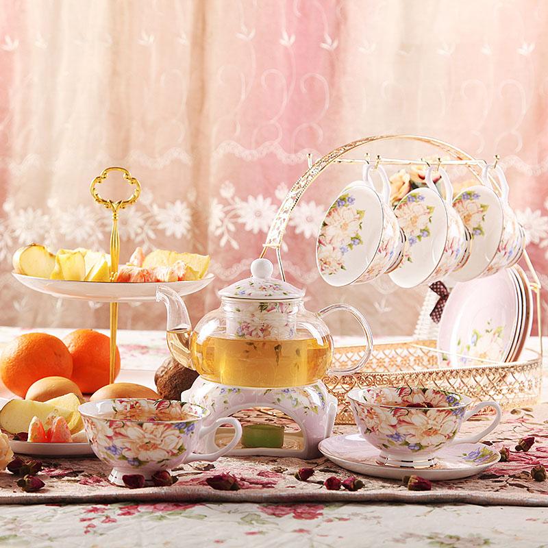 花茶茶具壺套裝歐式骨瓷英式下午茶茶具茶杯玻璃茶壺咖啡具套裝