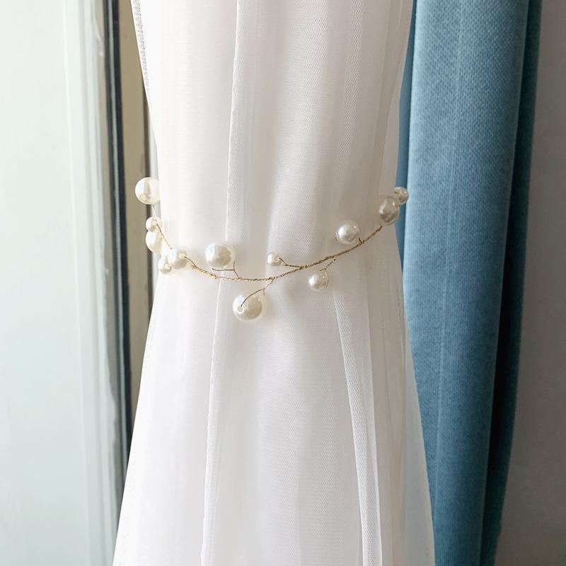 窗帘绑带轻奢高档珍珠新房软装饰女孩少女心卧室客厅窗帘扣扎束带
