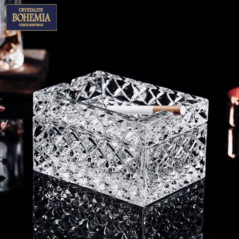 捷克BOHEMIA进口水晶玻璃烟灰缸带盖防飞灰北欧家用办公室高档盒 Изображение 1