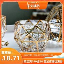 创意欧式描金水晶玻璃洋酒杯威士忌酒杯鸡尾酒杯啤酒家用杯子套装