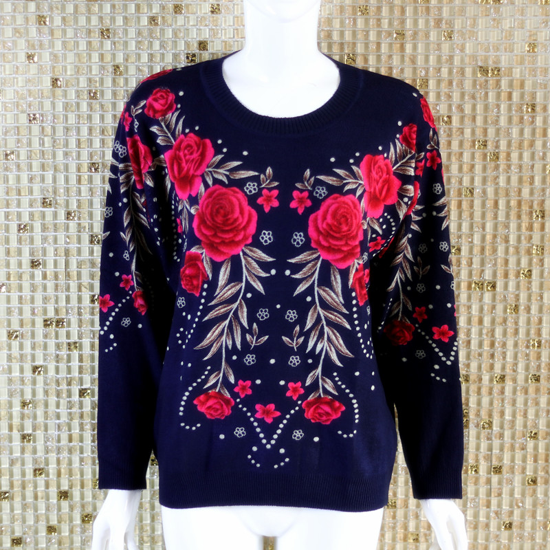 Middle aged and elderly womens autumn and winter woolen sweater round neck sweater