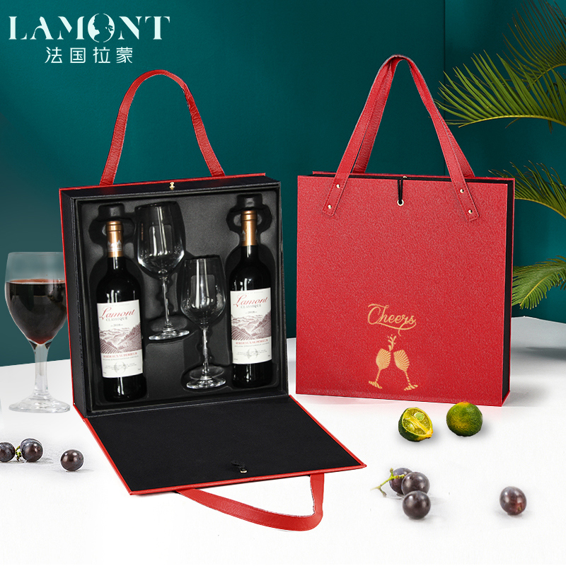 拉蒙超级波尔多干红葡萄酒法国原瓶进口红酒礼盒双支中秋送人礼品