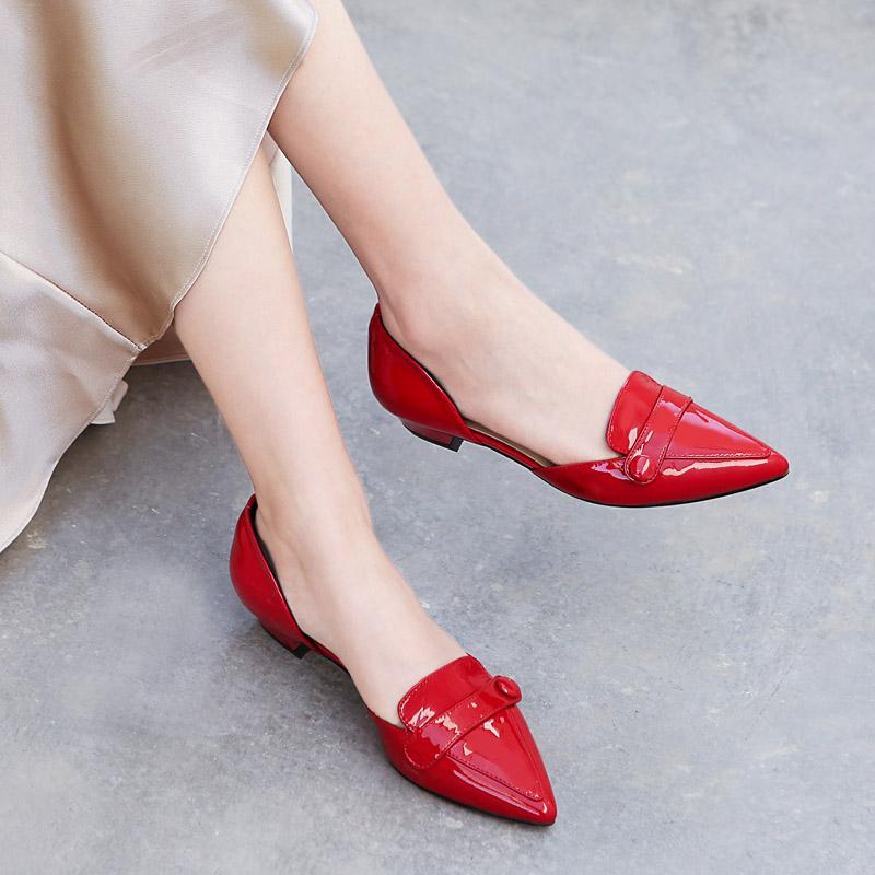 满208元可用20元优惠券红色中跟凉鞋女2019夏季新款韩版粗跟尖头婚鞋真皮包头中空穆勒鞋