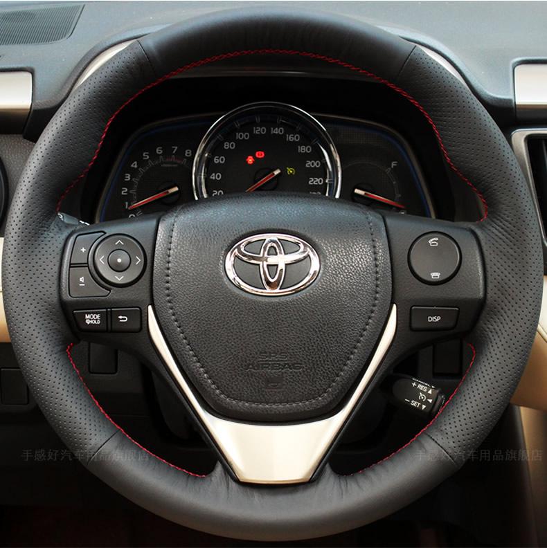 手縫真皮方向盤套 於豐田漢蘭達卡羅拉RAV4雷淩凱美瑞花冠威馳